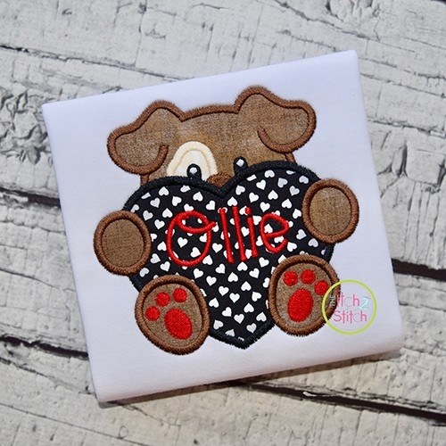 Dog With Heart Boy Applique