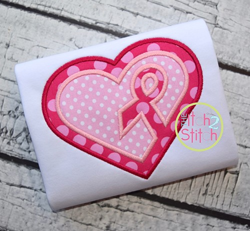 Awareness Ribbon Heart Double Applique