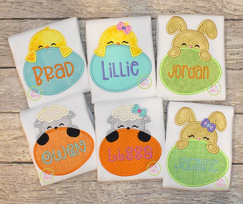 Easter Egg Peeker Applique Set
