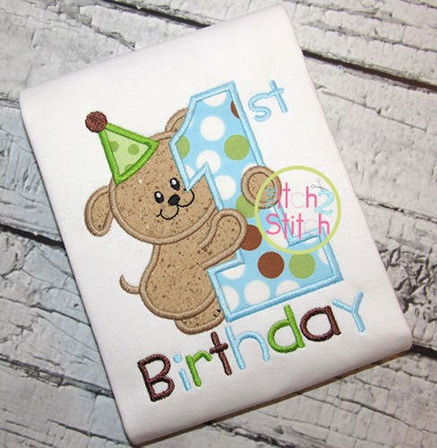 First Birthday Puppy Applique