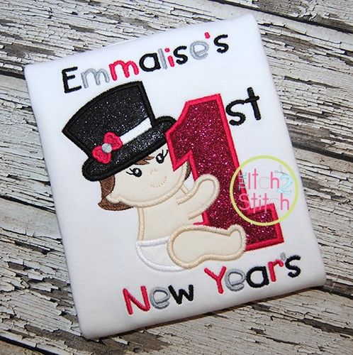 First New Year's Girl Applique