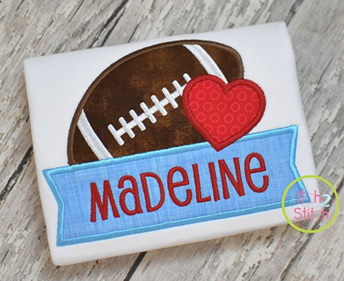 Football Heart Banner Applique Design