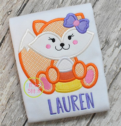 Fox Candy Corn Girl Applique