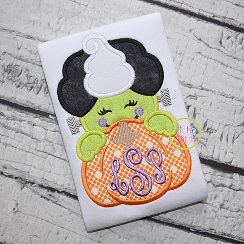 Franken Bride Pumpkin Peeker Applique
