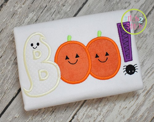 Ghost Boo Word Applique