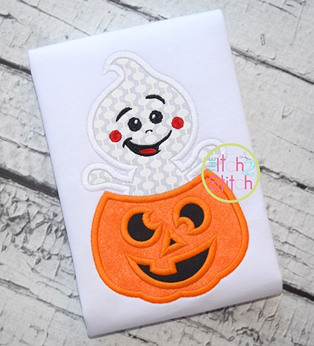 Ghost Popping Pumpkin Applique