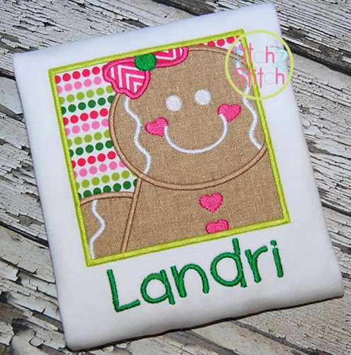 Gingerbread Box Girl Applique