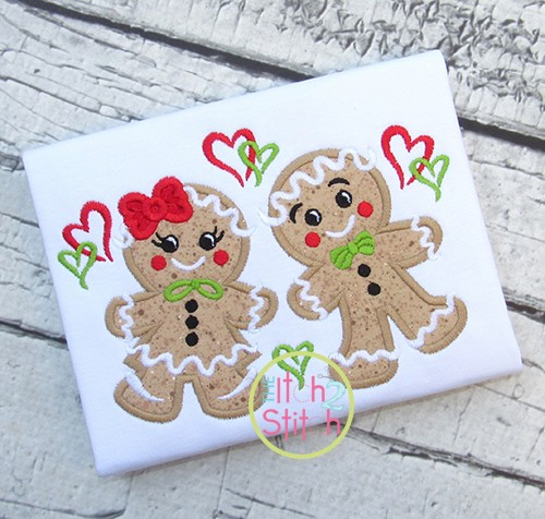 Gingerbread Couple Applique