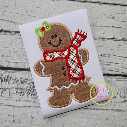Gingerbread Girl Scarf Applique