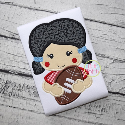 Girl Holding Football Applique