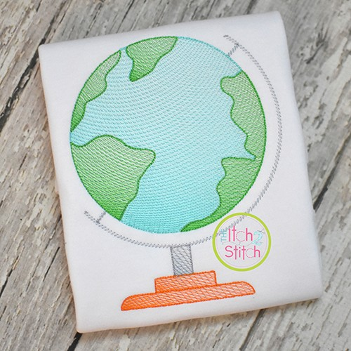 Globe Sketch Embroidery