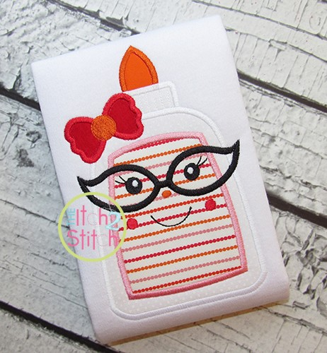 Glue Bottle Glasses Girl Applique