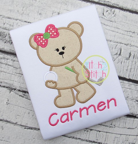 Golf Bear Girl Applique