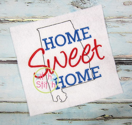 Home Sweet Home Alabama Embroidery