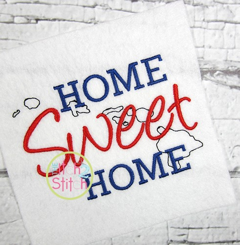Home Sweet Home Hawaii Embroidery
