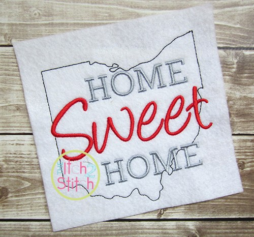 Home Sweet Home Ohio Embroidery