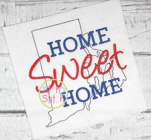 Home Sweet Home Rhode Island Embroidery