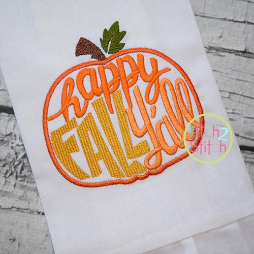 Happy Fall Y'all Pumpkin Embroidery