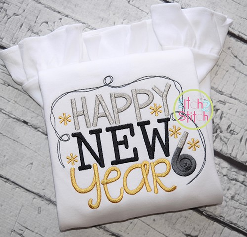 Happy New Year 2 Embroidery