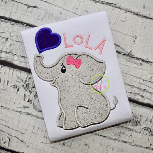 Elephant Blowing Heart Girl Applique