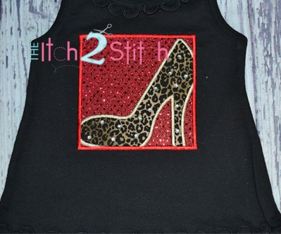 High Heel Shoe Box Applique