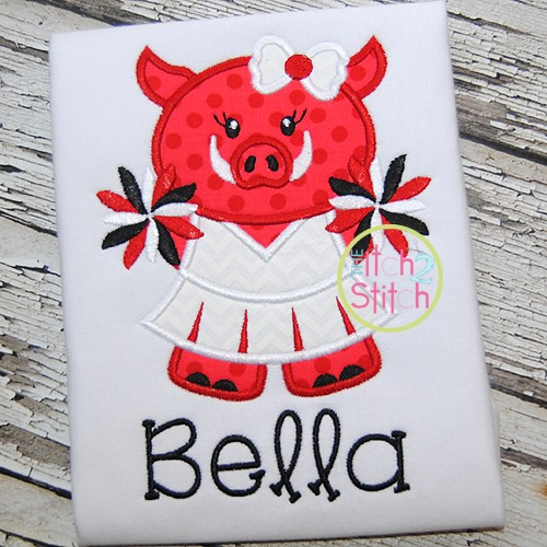 Hog Cheer Mascot Applique