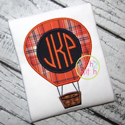 Hot Air Balloon Monogram Applique