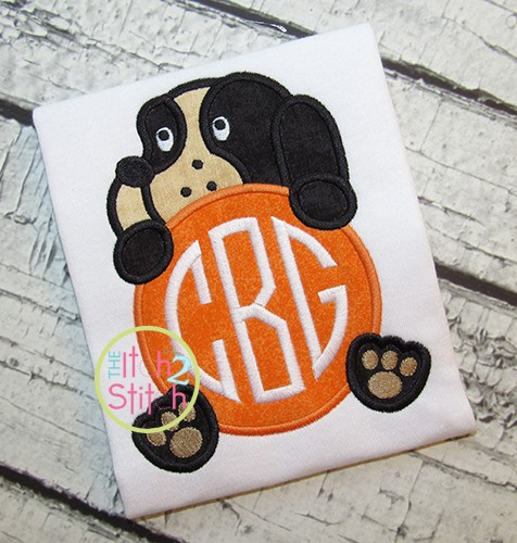 Hound Dog Mascot Monogram Peeker Applique