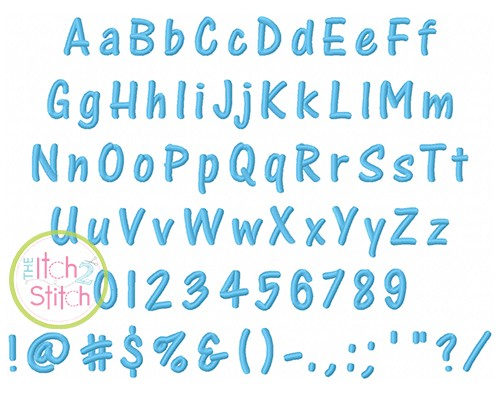 Marker Embroidery Font - 1in