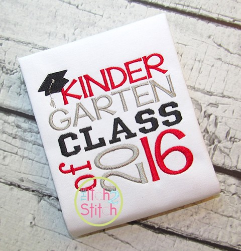 Kindergarten Class of 2016 Embroidery