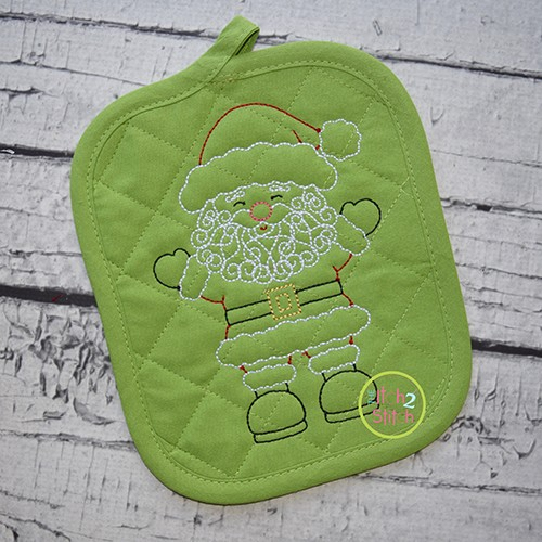 Little Swirly Beard Santa Bean Stitch Embroidery