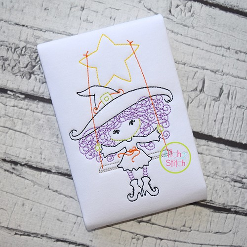 Little Witch on Swing Bean Embroidery