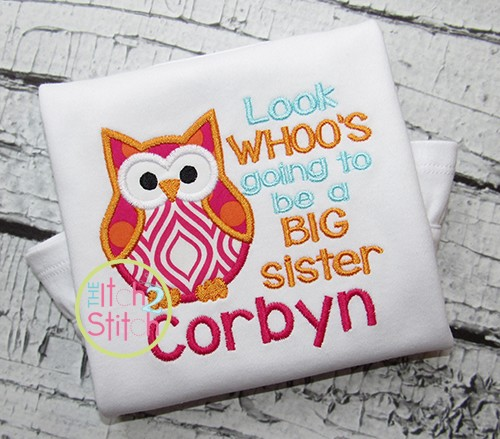 Look Whoo's Going to be a BIG Sister Owl Applique