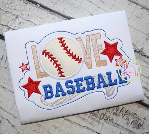 Love Baseball Applique