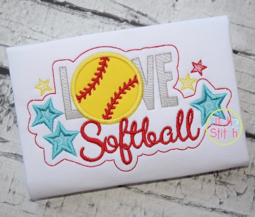Love Softball Applique