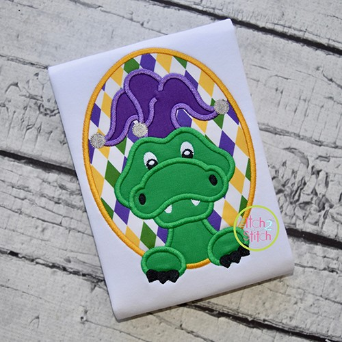 Mardi Gras Alligator Applique