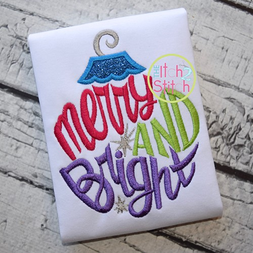 Merry and Bright Ornament Applique