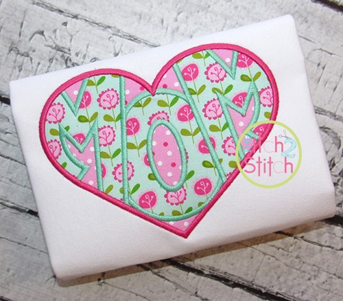 Mom Heart Applique