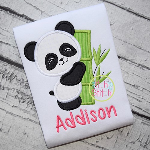 Panda Hugs Bamboo Applique