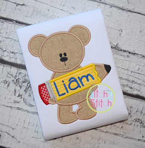 Pencil Bear Applique