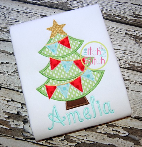 Christmas Tree Pennant Applique