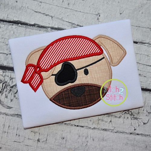 Pirate Puppy Dog Face Applique
