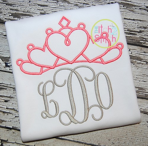 Princess Crown Hearts Topper Embroidery