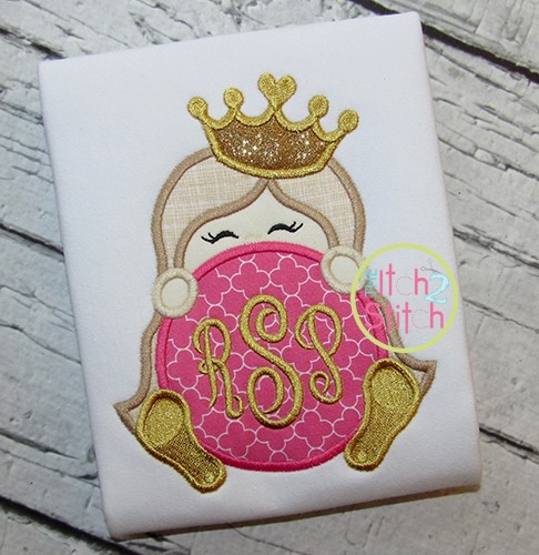 Princess Crown Monogram Peeker Applique