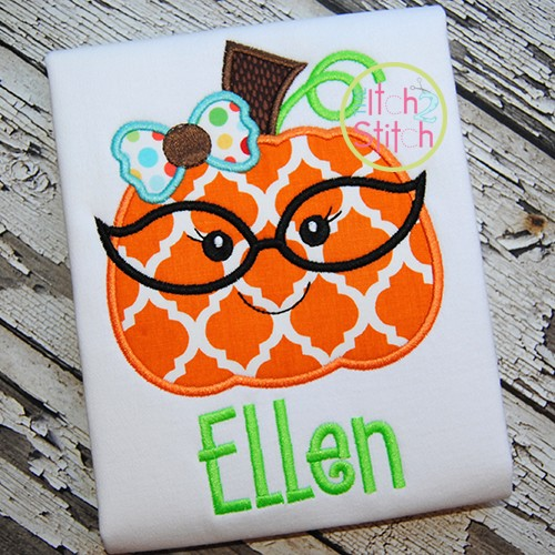 Pumpkin Glasses Girl Applique