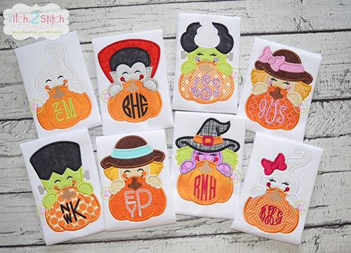 Pumpkin Peeker Applique Set