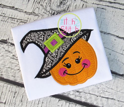 Pumpkin Witch Hat Applique