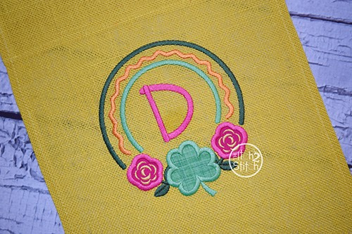 Rose Shamrock Frame Applique