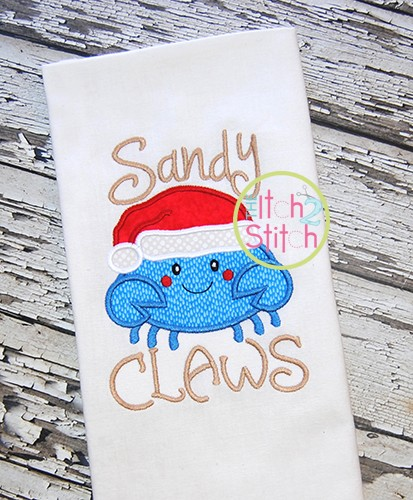 Sandy Claws Crab Applique