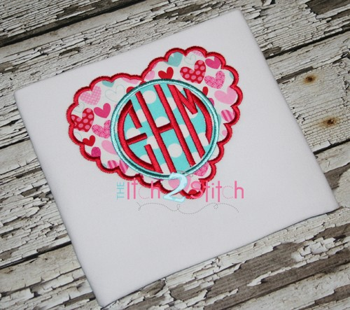 Scalloped Heart Monogram Applique Frame